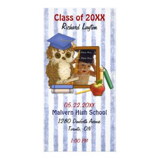 Búho del escolar - graduación tarjetas fotográficas personalizadas