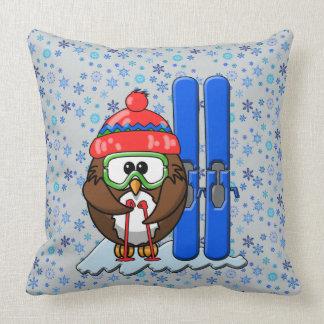 búho del esquiador cojines