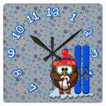 búho del esquiador reloj cuadrado