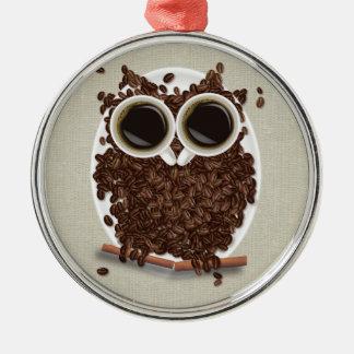 Búho del grano de café ornaments para arbol de navidad