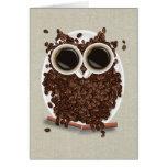 Búho del grano de café tarjeta de felicitación