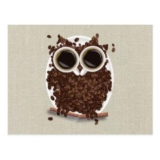 Búho del grano de café tarjetas postales