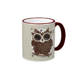 Búho del grano de café tazas