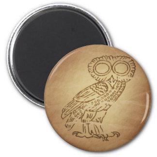 Búho del Griego de la sabiduría Imán Redondo 5 Cm