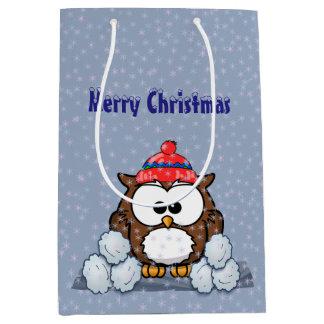 búho del invierno bolsa de regalo mediana