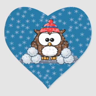 búho del invierno pegatina en forma de corazón