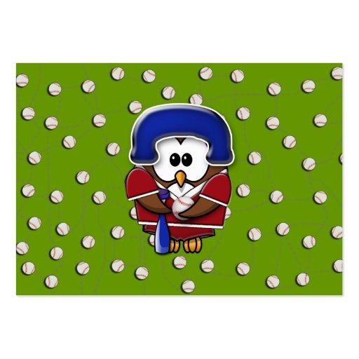 búho del jugador de béisbol plantilla de tarjeta personal