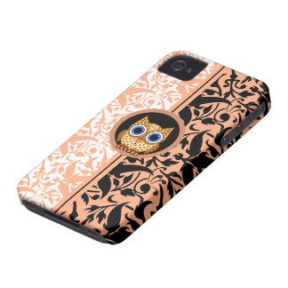 búho del modelo del damasco Case-Mate iPhone 4 funda
