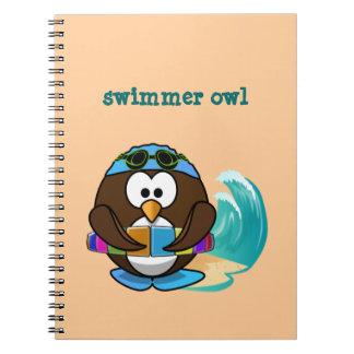 búho del nadador libreta espiral