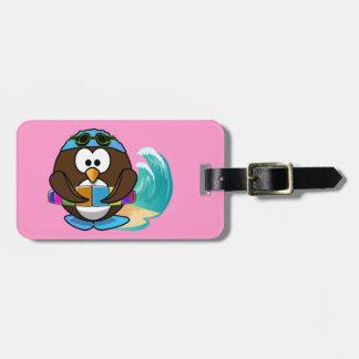 búho del nadador etiquetas maleta