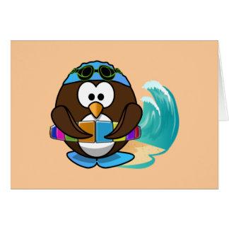 búho del nadador tarjeta de felicitación
