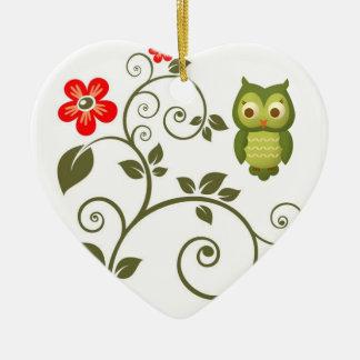 Búho del navidad adorno navideño de cerámica en forma de corazón