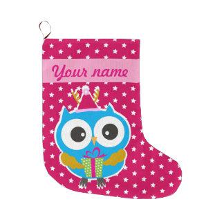 Búho del navidad calcetín de navidad grande