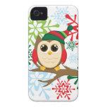Búho del navidad Case-Mate iPhone 4 protectores