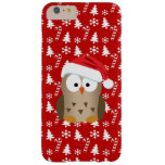 Búho del navidad con el gorra de Santa Funda Para iPhone 6 Plus Barely There