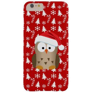 Búho del navidad con el gorra de Santa Funda Barely There iPhone 6 Plus