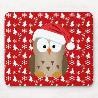 Búho del navidad con el gorra de Santa Mousepad