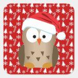 Búho del navidad con el gorra de Santa Pegatinas Cuadradases