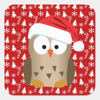 Búho del navidad con el gorra de Santa Pegatina Cuadrada