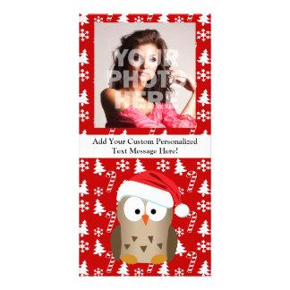 Búho del navidad con el gorra de Santa Tarjetas Fotográficas