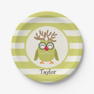 Búho del navidad con las rayas retras verdes plato de papel de 7 pulgadas