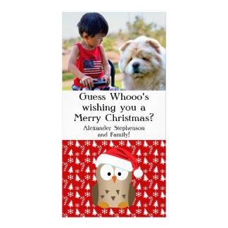 Búho del navidad de la conjetura Whoo con el gorra Tarjetas Fotográficas Personalizadas