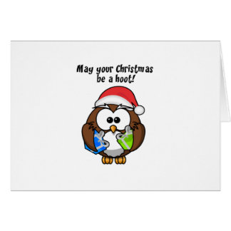 Búho del navidad de Santa Tarjeta De Felicitación
