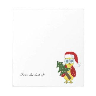 Búho del navidad - del escritorio de… libreta para notas