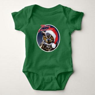 Búho del navidad - mono del jersey del bebé
