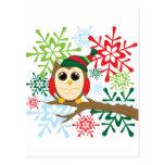 Búho del navidad postales