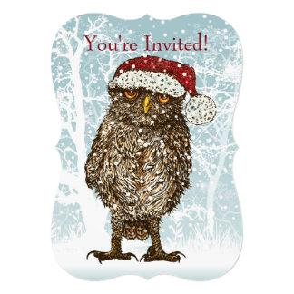 Búho del navidad que lleva el gorra de Santa Invitación 12,7 X 17,8 Cm
