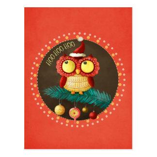 Búho del navidad tarjeta postal
