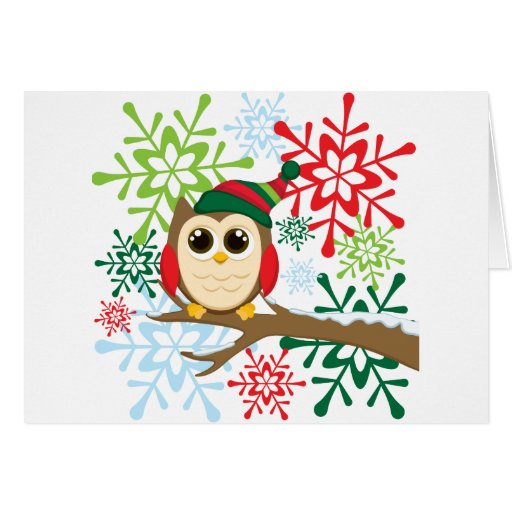 Búho del navidad tarjetas