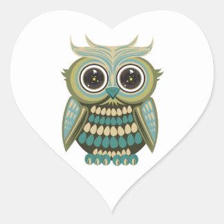 Búho del ojo de la estrella - verde pegatina corazon personalizadas