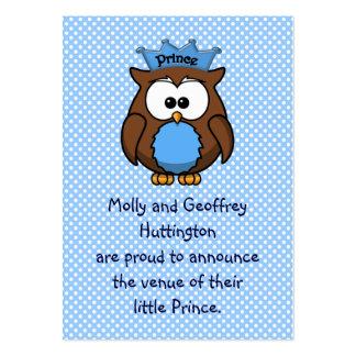 Búho del príncipe tarjetas de visita grandes