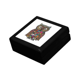 Búho del remiendo caja de joyas