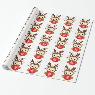 Búho del reno del navidad papel de regalo