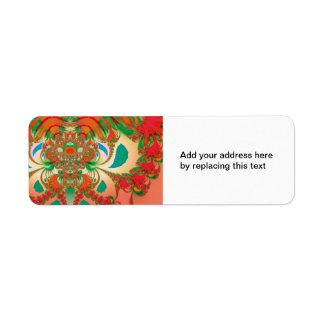 Búho del rojo del arte abstracto etiqueta de remite