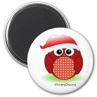 Búho del rojo del navidad imanes de nevera