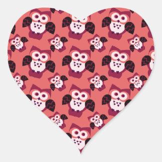 Búho del ` s de la tarjeta del día de San Valentín Pegatina En Forma De Corazón