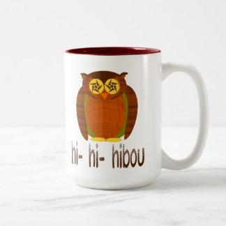 Búho del tartán de Hibou Tazas De Café