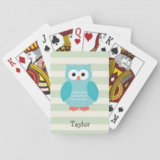 Búho del trullo en rayas verdes en colores pastel cartas de juego