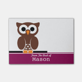 Búho divertido personalizado de Brown Notas Post-it®