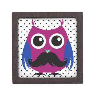 Búho divertido retro con el bigote del manillar cajas de recuerdo de calidad