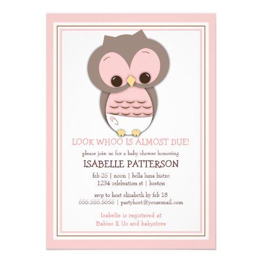 Búho dulce del bebé es una invitación de la fiesta