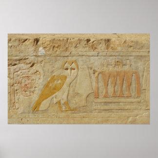 Búho egipcio antiguo jeroglífico poster