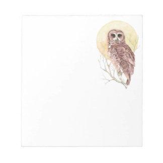 Búho en árbol con el pájaro de la acuarela de la l libretas para notas