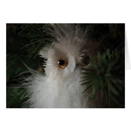 Búho en árbol de navidad tarjeta de felicitación