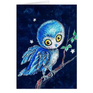 Búho en colores pastel azul lindo tarjeta pequeña
