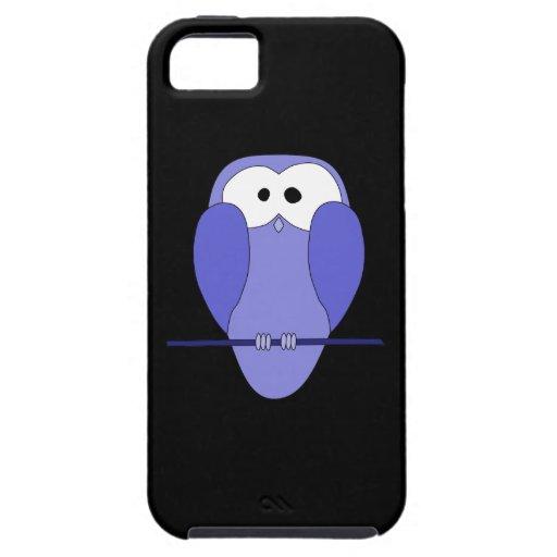 Búho en la noche. Azul, negro iPhone 5 Cárcasa